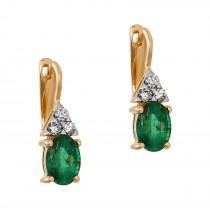 Ladies 1.600 Ctw Emerald Earrings / 14 Kt Y