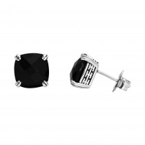 Ladies 7.350 Ctw Onyx Earrings / Silver