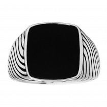 Gents 3.500 Ctw Onyx Ring / Silver