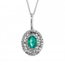 Ladies .500 Ctw Emerald Pendant / 14 Kt W
