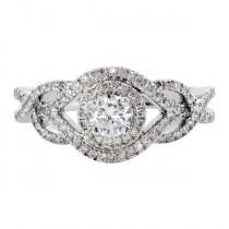 Ladies .500 Ctw Round Cut Diamond Semi-mount / 14 Kt W