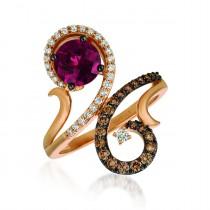 .530 Ctw Rhodelite Ring / Rose Gold 14 Kt.