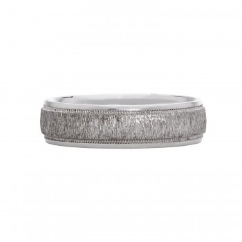 Mens Sterling Silver Brushed Style Wedding Band
