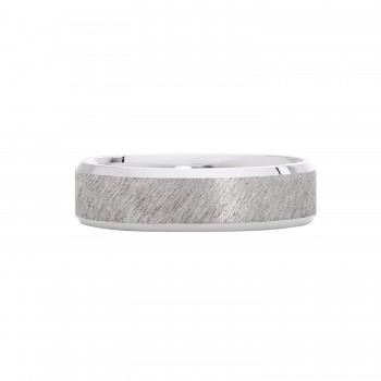 Mens 6mm Florentine Finish Sterling Silver Wedding Band