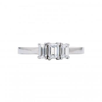 Ladies .820 Ctw Emerald Cut Diamond Ring / 14 Kt W