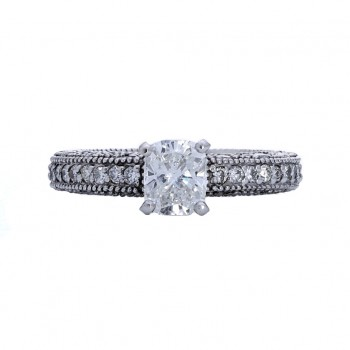 Ladies 1.020 Ct. / 2.020 Ctw Cushion Cut Diamond Engagement Ring