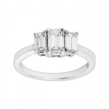 Ladies Emerald Cut Diamond Fashion Ring / 14 Kt W