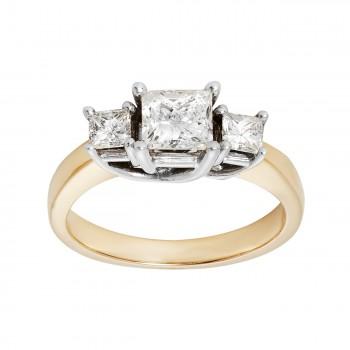 Ladies 1.000 Ctw Princess Cut Diamond Ring / 14 Kt Y
