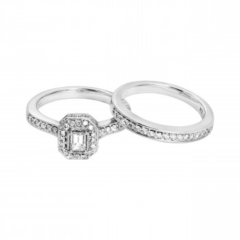 Ladies .750 Ctw Emerald Cut Diamond Wedding Set / 14 Kt W