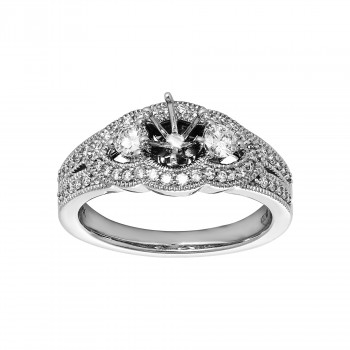 Ladies .510 Ctw Diamond Semi-mount / 14 Kt W