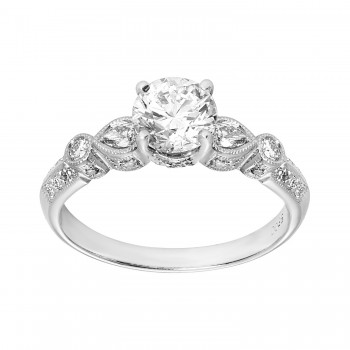 .930 Ct. / 1.290 Ctw Round Cut Diamond Engagement Ring / SI1