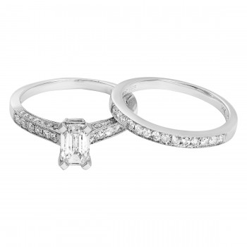 Cathedral Micro-Pave Engagement Ring & Mtch Di-Bnd