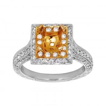 Ladies 1.100 Ctw Diamond Semi-mount / 2-Tone 14 Kt.