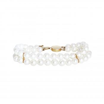 "7.25"" Cultured Pearl Double Row Bracelet"