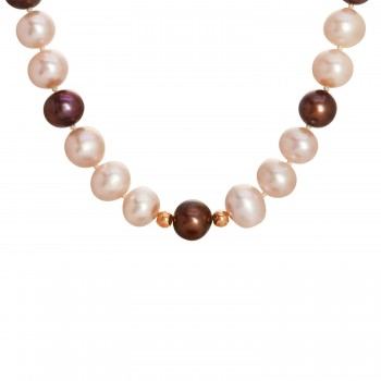 Ladies Pearl Necklace / Rose Gold 14 Kt.
