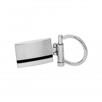 Stainless Steel & Black Enamel Keychain