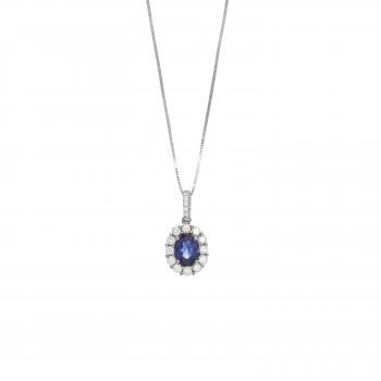 14kw .88ct Sapphire & .49ctw Diamond Pendant