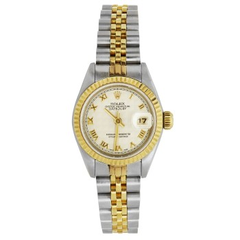 Ladies Two-Tone Pre-Owned Datejust Rolex Watch