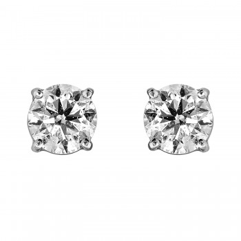 Ladies 1.440 Ctw Diamond Stud Earrings / 14 Kt W