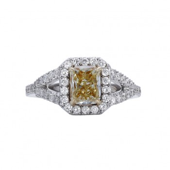 18kw Natural Fancy Yellow Diamond 1.01ct - set on yg plate