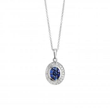 EFFY Blue Sapphire & Diamond Pendant / 14 Kt W