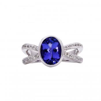 Ladies Tanzanite Ring / 18 Kt W