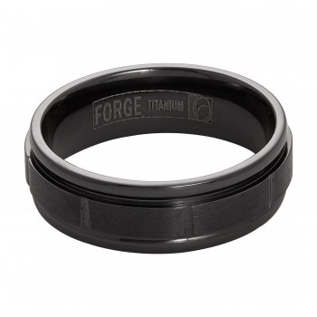Gents Black Ring / Titanium