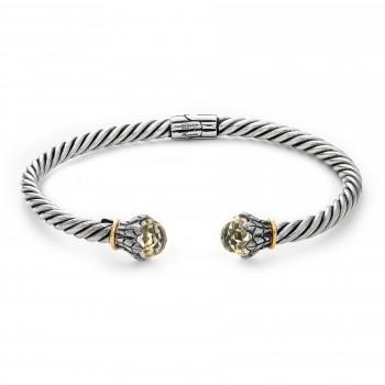 Ladies Round Cut Quartz Bracelet / Silver & 18 Kt.