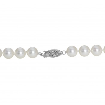 """18"""" Pearl Necklace with 14 Kt White Gold Clasp"""