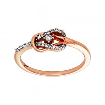 Ladies .130 Ctw Round Cut Diamond Ring / Rose Gold