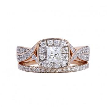 Ladies .670 Ctw Diamond Ring / Rose Gold 14 Kt.