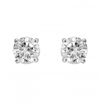 Ladies 1.420 Ctw Diamond Stud Earrings / 14 Kt W