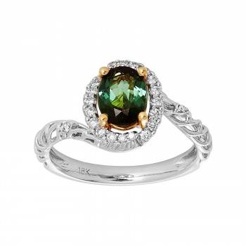 Ladies Round Cut Tourmaline Ring / 18 Kt W