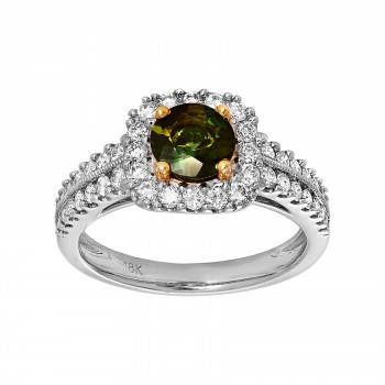 Ladies .750 Ctw Round Cut Tourmaline Ring / 18 Kt W