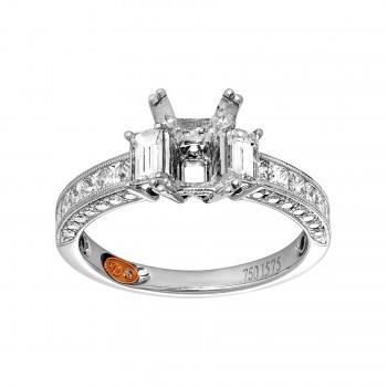Ladies 1.110 Ctw Emerald Cut Diamond Semi-mount / 18 Kt W