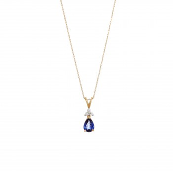 Pear Shape Blue Sapphire and Diamond Pendant