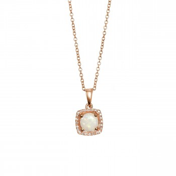 14k Rose Gold Opal and Diamond Necklace