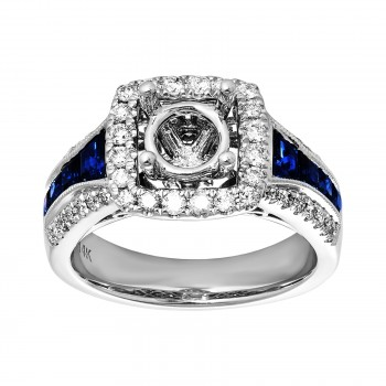 1.500 Ctw Diamond Semi-mount / 14 Kt W