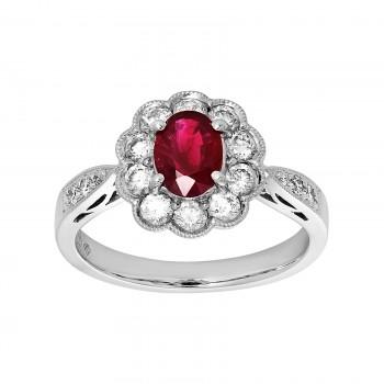 Ladies Ruby Ring / 14 Kt W