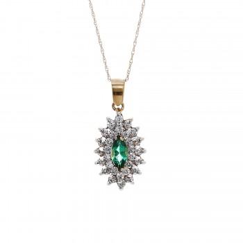Ladies Emerald Necklace / 14 Kt W