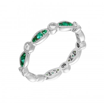 Ladies Emerald Ring / 14 Kt W
