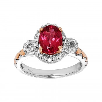 18k Two-Tone Tourmaline and .32ctw Diamond Ring
