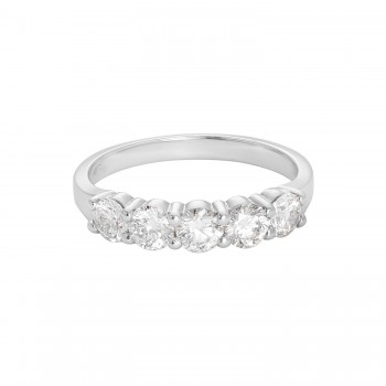 Ladies 1.000 Ctw Round Cut Diamond Ring / 14 Kt W