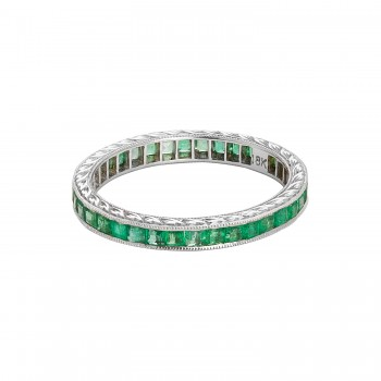 Ladies Emerald Ring / 18 Kt W