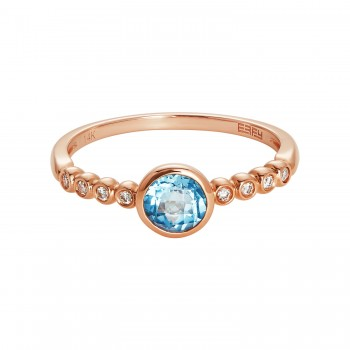 EFFY Ladies .050 Ctw Blue Topaz Ring / Rose Gold 14 Kt.