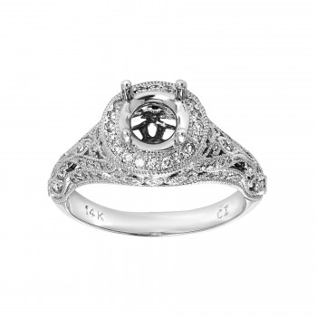 Ladies .400 Ctw Round Cut Diamond Semi-mount / 14 Kt W