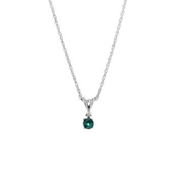 .020 Ctw Emerald Necklace / Sterling Silver