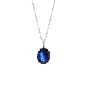 Ladies 5.600 Ctw Sapphire Pendant / 14 Kt W