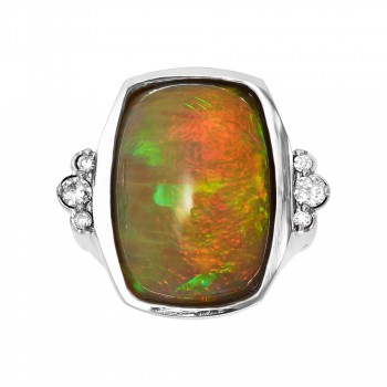 Ladies .200 Ctw Opal Ring / 14 Kt W