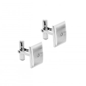 Stainless Steel & .070 Ctw Diamond Cuff Links
